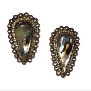 VINTAGE Midcentury Silver And Abalone Earrings